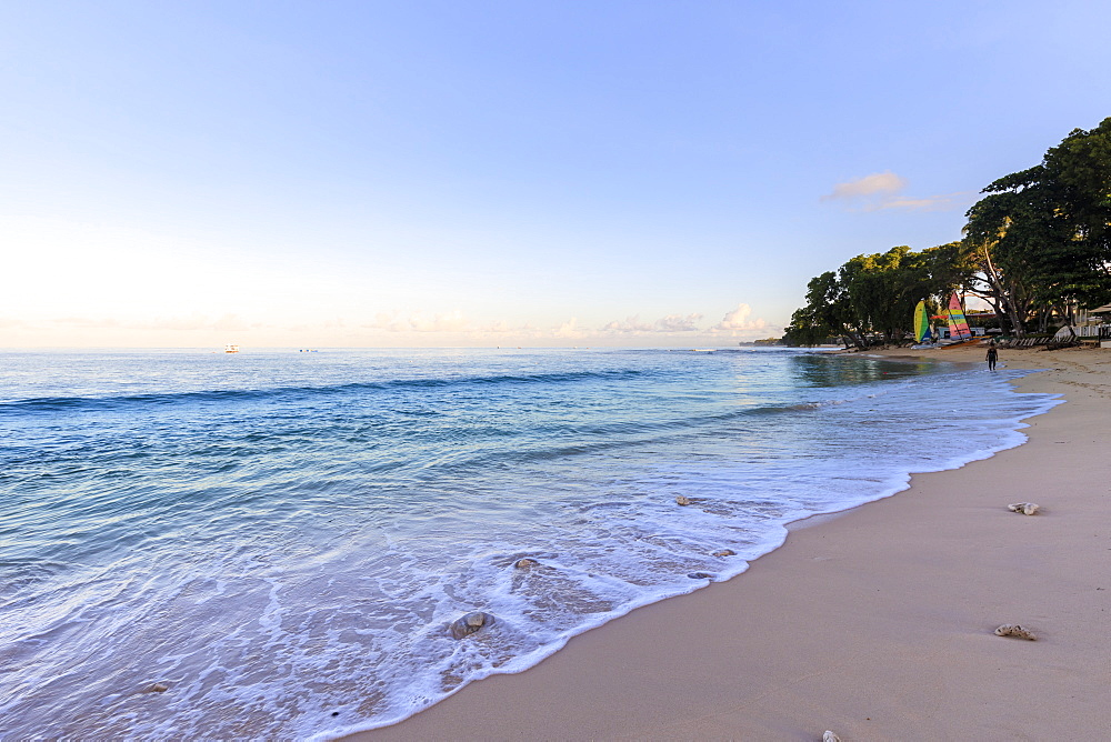 Paynes Bay, at dawn, turquoise sea, sail boats, fine pink sand beach, beautiful West Coast, Barbados, Windward Islands, West Indies, Caribbean, Central America