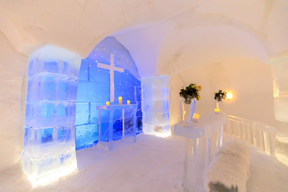 Sorrisniva Igloo Hotel, ice hotel, striking sculpture, chapel, lobby, Alta, Winter snow, Finnmark, Arctic Circle, North Norway