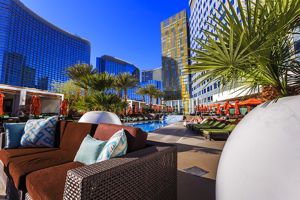 Poolside relaxation, Mandarin Oriental, City Center, Las Vegas, Nevada, United States of America, North America