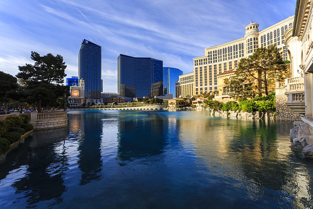 Morning reflections in Bellagio Lake, Las Vegas, Nevada, United States of America, North America