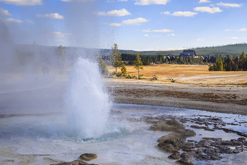 Erupting geyser and Old Faithful Inn, Upper Geyser Basin, Yellowstone National Park, UNESCO World Heritage Site, Wyoming, United States of America, North America