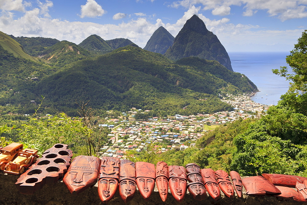 Souvenir stall with view of the Pitons and Soufriere, St. Lucia, Windward Islands, West Indies, Caribbean