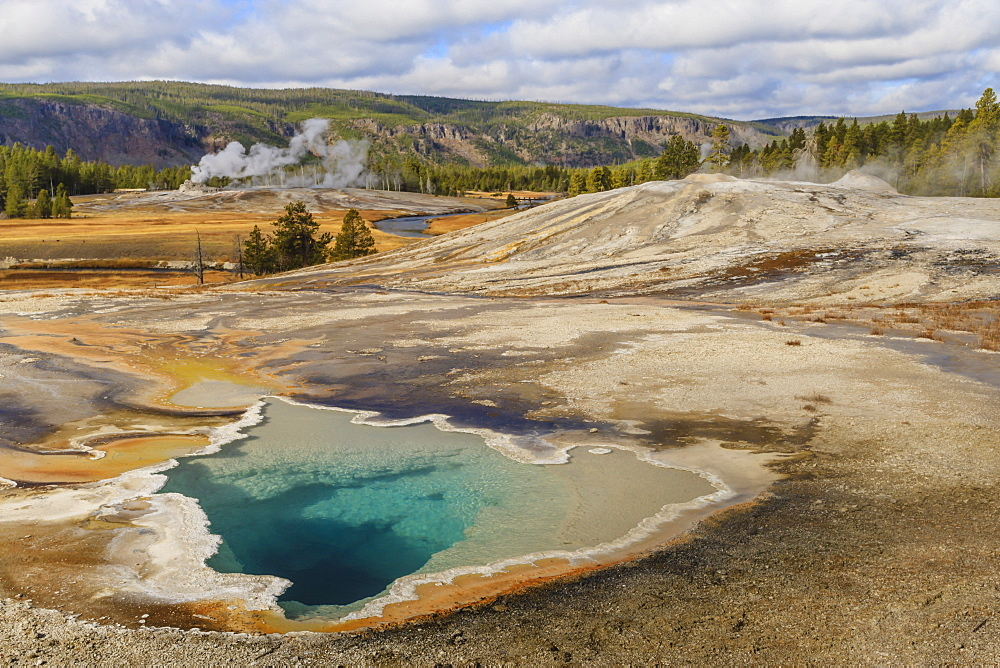 Elevated view of Doublet Pool, Firehole River and Castle Geyser, Upper Geyser Basin, Yellowstone National Park, UNESCO World Heritage Site, Wyoming, United States of America, North America