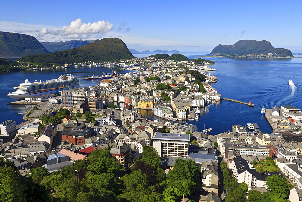 View from Aksla hill over Alesund, More og Romsdal, Norway, Scandinavia, Europe