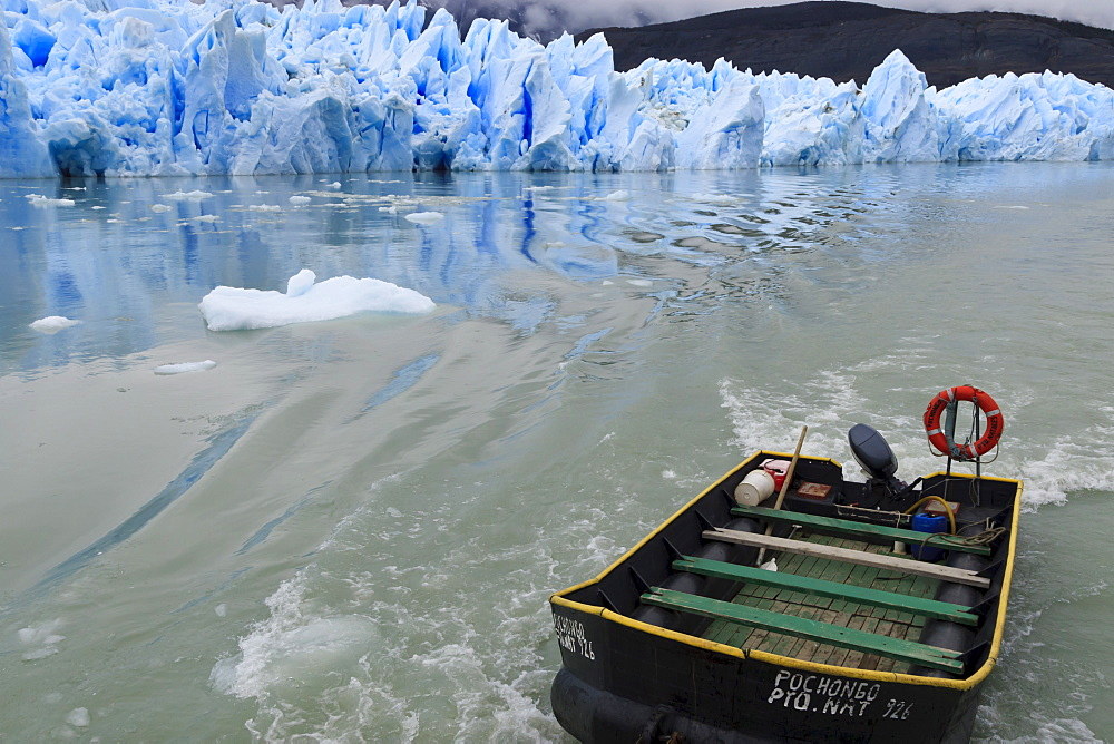 Grey Glacier and boat, Torres del Paine National Park, Patagonia, Chile, South America