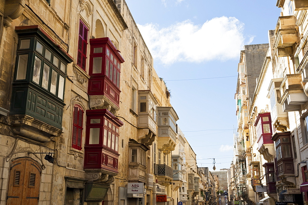 Maltese balconies in the old town, Valletta, Malta, Europe