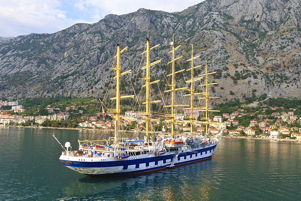 Cruise ship with masts, Kotor, Bay of Kotor, UNESCO World Heritage Site, Montenegro, Europe