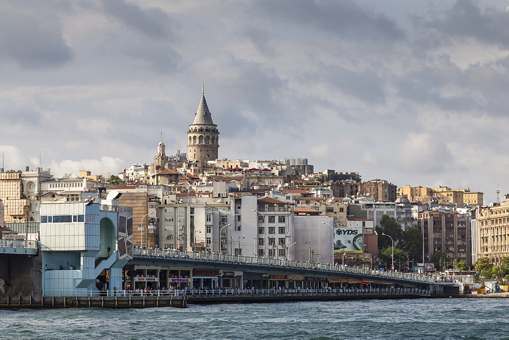 Galata Bridge across the Golden Horn, Beyoglu District, Istanbul, Turkey, Eurasia