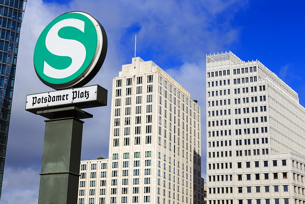 S-Bahn subway sign and the Beisheim Center Ritz-Carlton and Marriott hotels, Potsdamer Platz, Berlin, Germany, Europe
