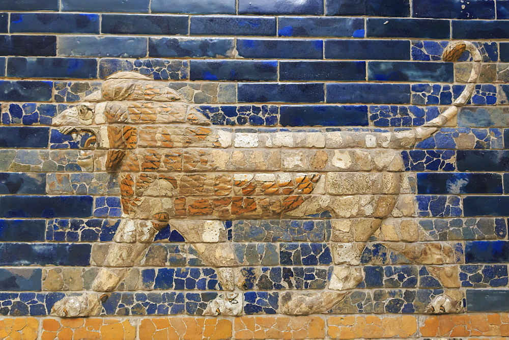 Blue glazed bricks with lion relief, Ishtar Gate (Babylon), Pergamonmuseum (Pergamon Museum), Museum Island, Berlin, Germany, Europe