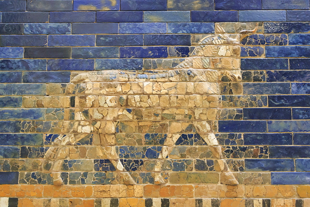Blue glazed bricks with bull relief, Ishtar Gate (Babylon), Pergamonmuseum (Pergamon Museum), Museum Island, Berlin, Germany, Europe