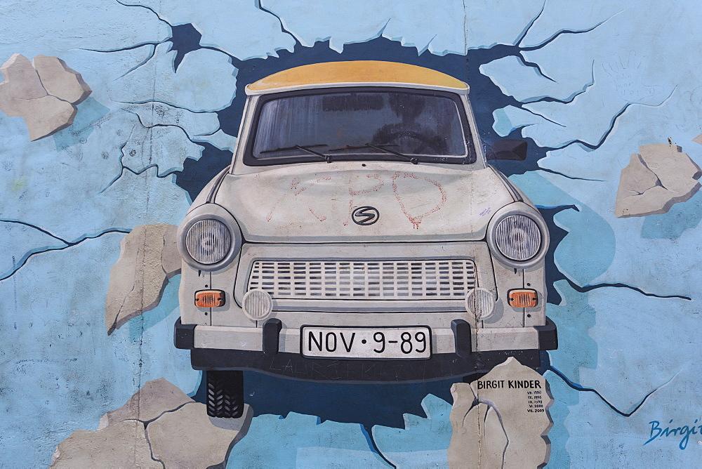 Trabant car breaks through wall in mural Test the Rest by Birgit Kinder, Berlin Wall, East Side Gallery, Friedrichshain, Berlin, Germany, Europe