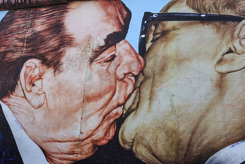 Close-up of mural My God, Help Me Survive Amid this Deadly Love by Dimitry Vrubel, Berlin Wall, East Side Gallery, Berlin, Germany, Europe