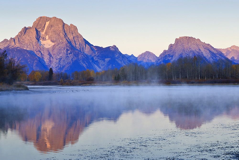 Dawn mist, Mount Moran, Oxbow Bend, Snake River, Grand Teton National Park, Wyoming, United States of America, North America