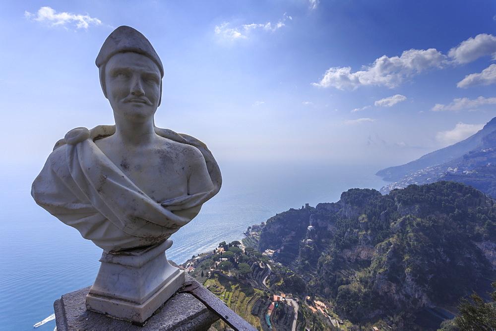 View down to Atrani, from Terrace of Infinity, Gardens of Villa Cimbrone, Ravello, Costiera Amalfitana (Amalfi Coast), UNESCO World Heritage Site, Campania, Italy, Europe