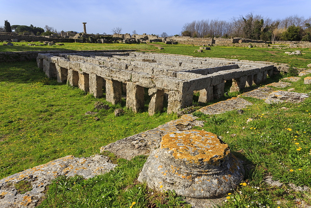 Gymnasium with swimming pool, Paestum, Ancient Greek archaeological site, UNESCO World Heritage Site, Campania, Italy, Europe
