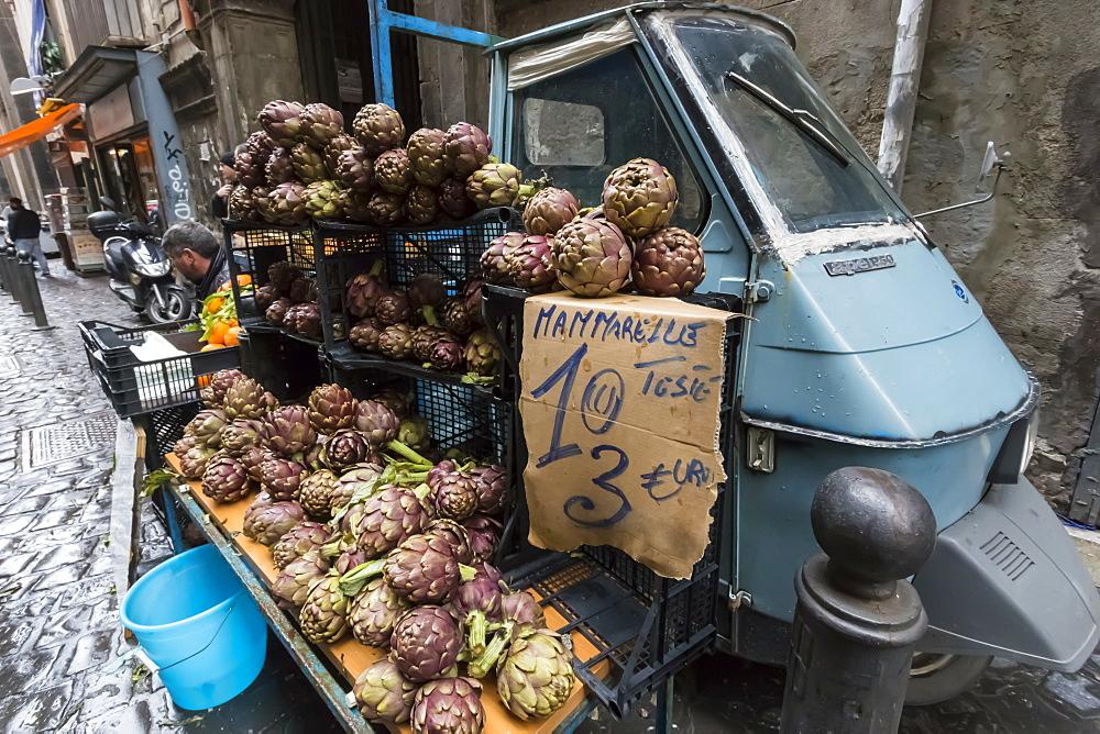 Local artichokes for sale from Piaggio van, Historic Centre (Centro Storico), UNESCO World Heritage Site, Naples, Campania, Italy, Europe - 1167-809