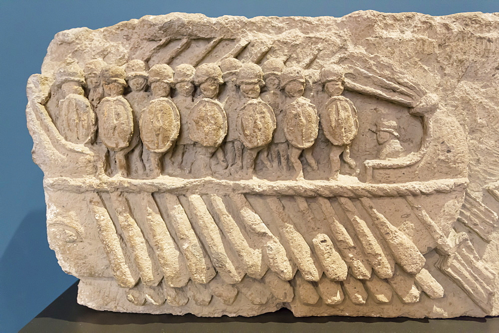 Relief, oared galley warship (bireme) with oarsmen, National Archaeological Museum, Naples, Campani, Italy, Europe