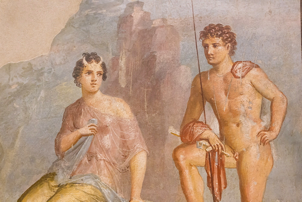 Roman fresco, Io and Argos, from House of Meleager, Pompeii, displayed at National Archaeological Museum, Naples, Campania, Italy, Europe