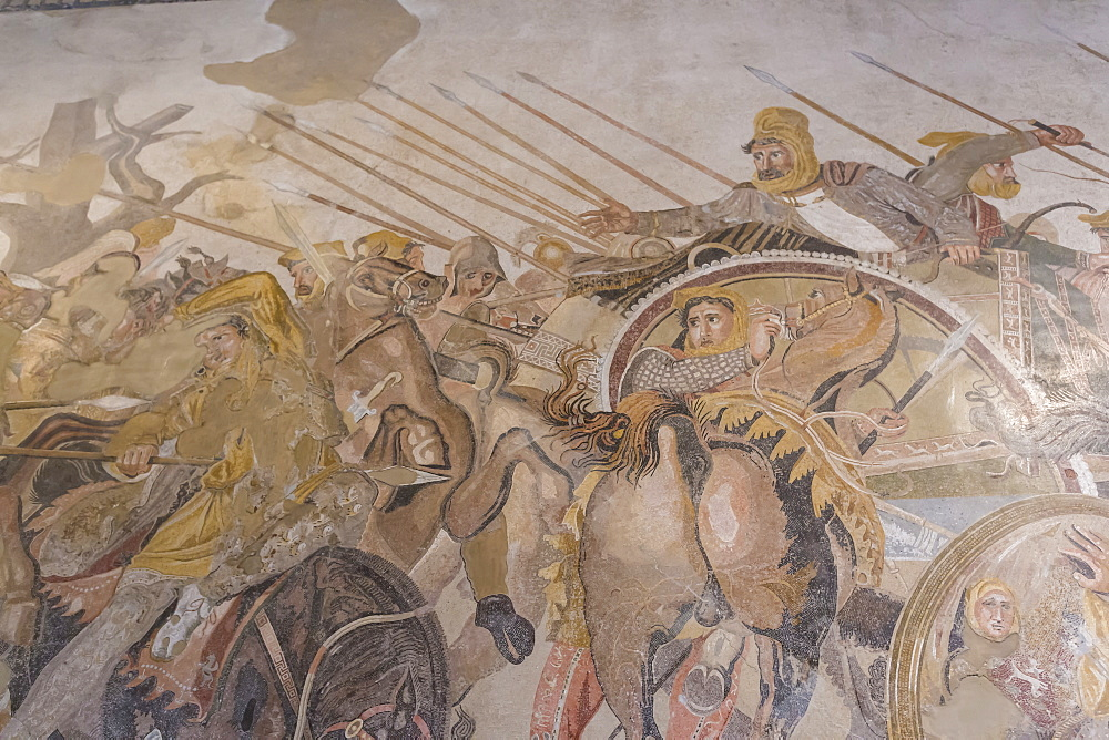 Roman mosaic, Battle between Alexander and Darius, from Pompeii House of the Faun, National Archaeological Museum, Naples, Campania, Italy, Europe