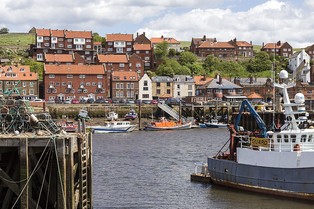 Endeavour Wharf with lobster pots and boats in Upper Harbour, Whitby, North Yorkshire, Yorkshire, England, United Kingdom, Europe