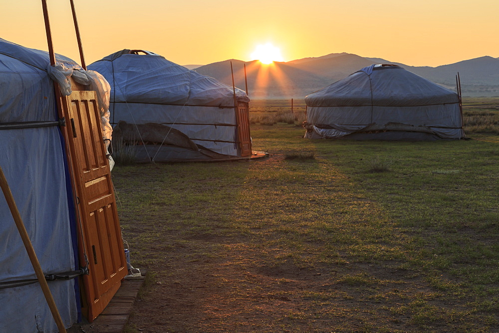 Sunrise over gers in summer, Nomad camp, Gurvanbulag, Bulgan, Northern Mongolia, Central Asia, Asia
