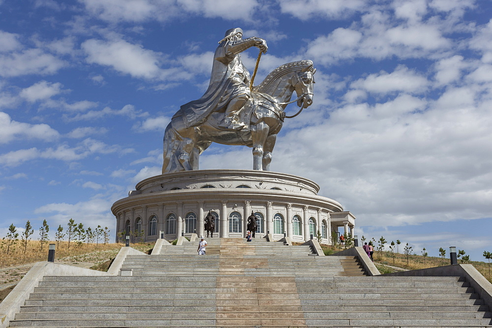 Huge silver stainless steel Chinggis Khaan (Genghis Khan) statue with blue sky, Tsonjin Boldog, Tov Province, Central Mongolia, Central Asia, Asia