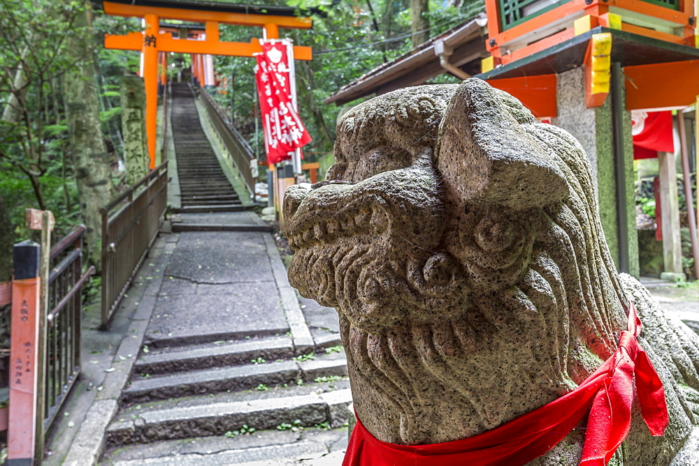 Stone sculpture, Fushimi Inari Taisha, Shinto shrine and vermilion torii gates in wooded forest, Mount Inari, Kyoto, Japan, Asia