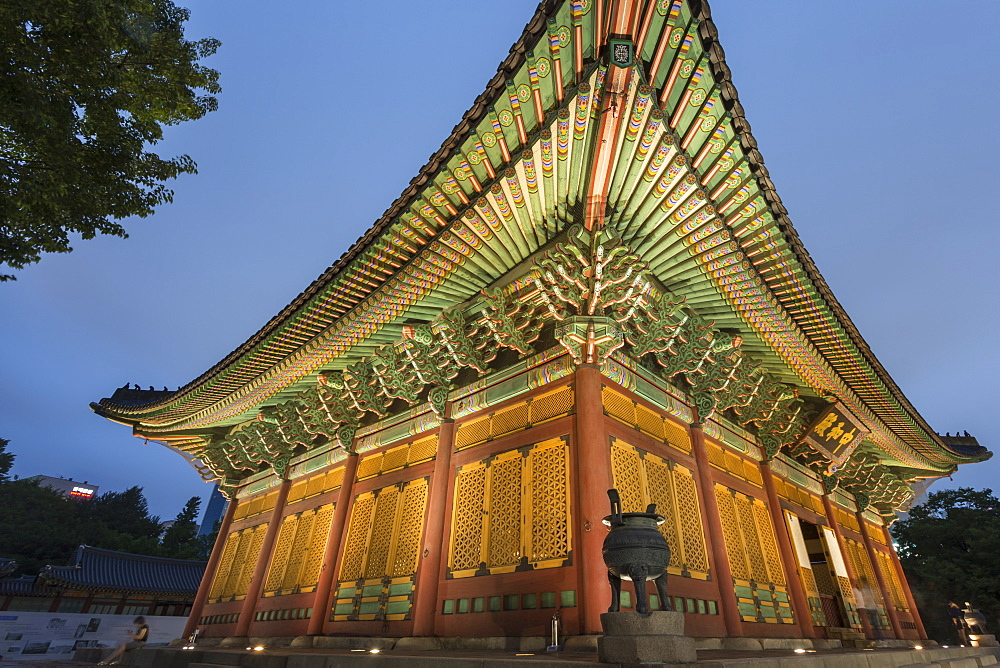 Junghwa-jeon (Throne Hall), Deoksugung Palace, traditional Korean building, illuminated at dusk, Seoul, South Korea, Asia