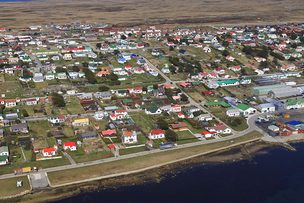Aerial view of houses with colourful roofs, Stanley, East Falkland, Falkland Islands, South America
