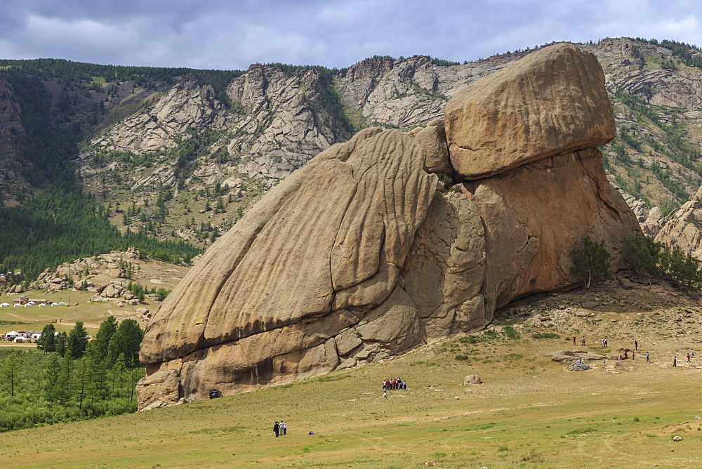 Turtle Rock, rock formation, with many visitors and distant tourist ger camps in summer, Terelj National Park, Central Mongolia, Mongolia, Central Asia, Asia