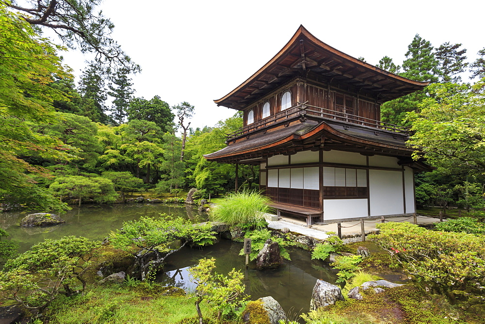 Ginkaku-ji (Silver Pavillion), classical Japanese temple and garden, main hall, pond and leafy trees in summer, Kyoto, Japan, Asia