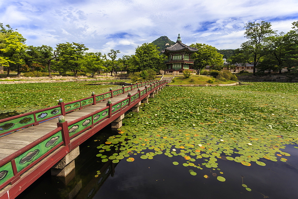 Hyangwonjeong pavilion and Chwihyanggyo bridge over water lily filled lake in summer, Gyeongbokgung Palace, Seoul, South Korea, Asia