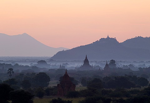 Temples, pagodas and stupas in early morning mist at sunrise, Bagan (Pagan), Myanmar (Burma), Asia - 1170-122