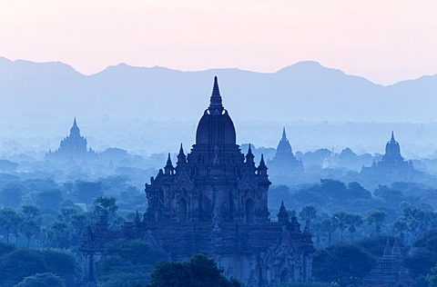 Temples and pagodas in early morning mist at dawn, Bagan (Pagan), Myanmar (Burma), Asia - 1170-135