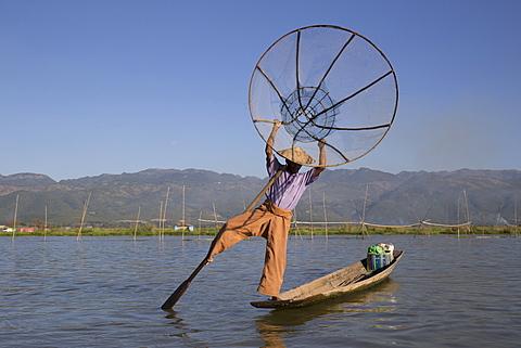 Intha leg rowing fisherman at sunrise, Inle Lake, Nyaung Shwe (Nyaungshwe), Shan State, Myanmar (Burma), Asia - 1170-141