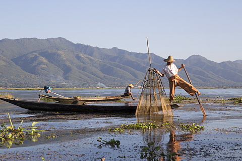 Intha leg rowing fishermen in early morning, Inle Lake, Nyaung Shwe (Nyaungshwe), Shan State, Myanmar (Burma), Asia - 1170-146