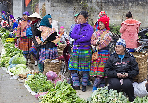 Women from Flower Hmong ethnic group selling fresh vegetables at Bac Ha market, Sapa region, Lao Cai Province, Vietnam, Indochina, Southeast Asia, Asia