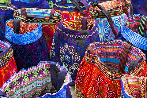 Colourful bags made by Flower Hmong ethnic group, Can Cau market, Bac Ha area, Sapa region, Lao Cai Province, Vietnam, Indochina, Southeast Asia, Asia