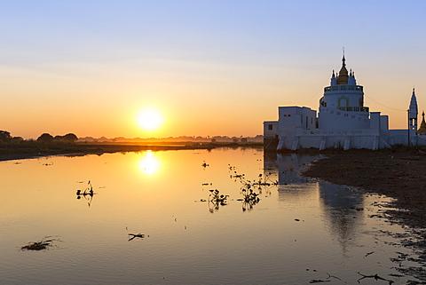 Spiral Temple pagoda on Taungthaman Lake at sunset. U Bein Bridge, Myanmar (Burma), Asia - 1170-172