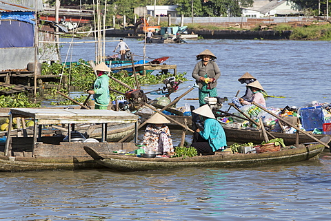 Phong Dien floating market, women wearing conical rice hats on boats selling fresh produce, Can Tho, Mekong Delta, Vietnam, Indochina, Southeast Asia, Asia - 1170-194