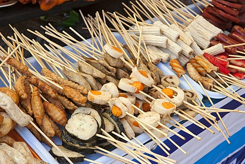 Traditional Burmese street food on bamboo skewers ready for barbecue, Yangon (Rangoon), Myanmar (Burma), Asia  - 1170-43