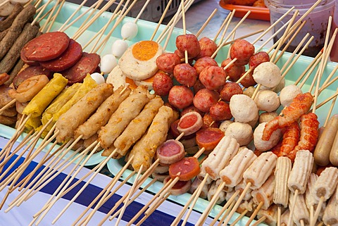 Traditional Burmese street food on bamboo skewers ready for barbecue, Yangon (Rangoon), Myanmar (Burma), Asia  - 1170-44