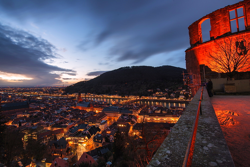 Heidelberg Altstadt and Castle ruins with Neckar River at night, Heiligenberg, Baden Wurttemberg, Germany, Europe