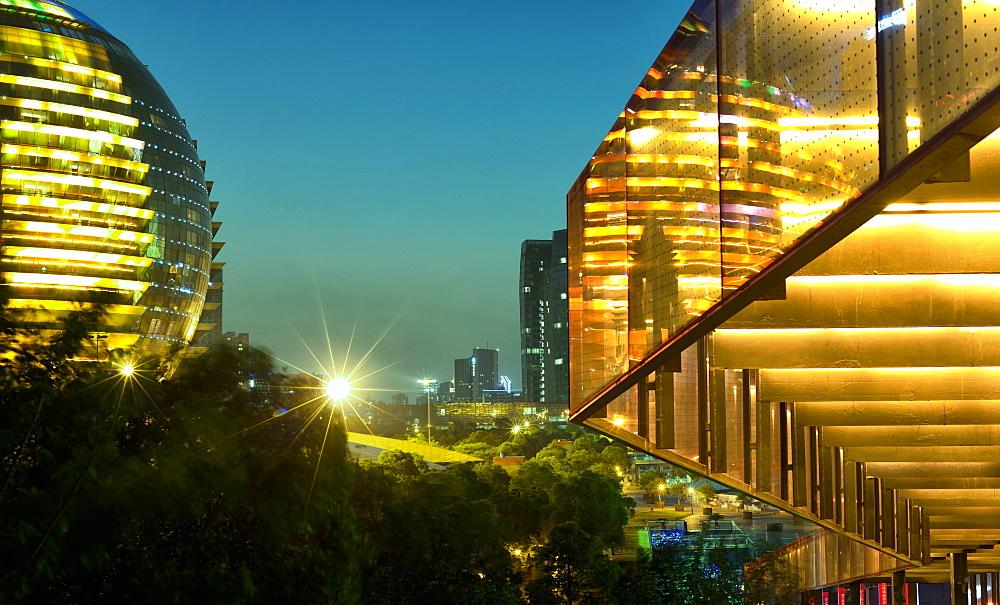 Night capture of ultra modern architecture in Jianggan, a new business district of Hangzhou, capital of Zhejiang province, China, Asia