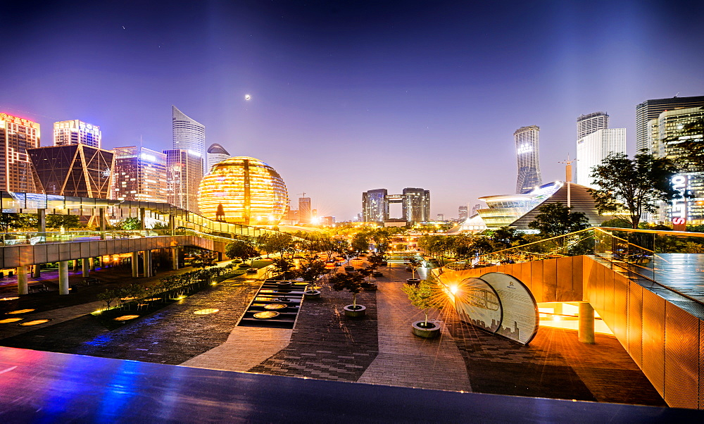Nightly display of light, color and futuristic architecture in Jianggan district of Hangzhou, Zhejiang, China, Asia