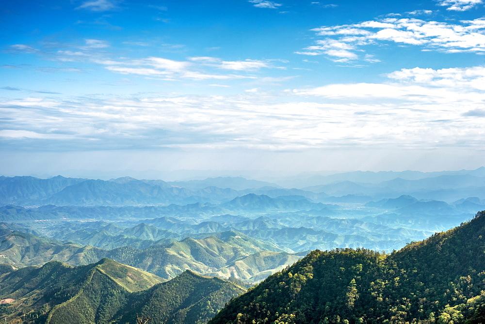 Misty mountain chains as seen from Tian Mu Shan peak, Zhejiang, China, Asia