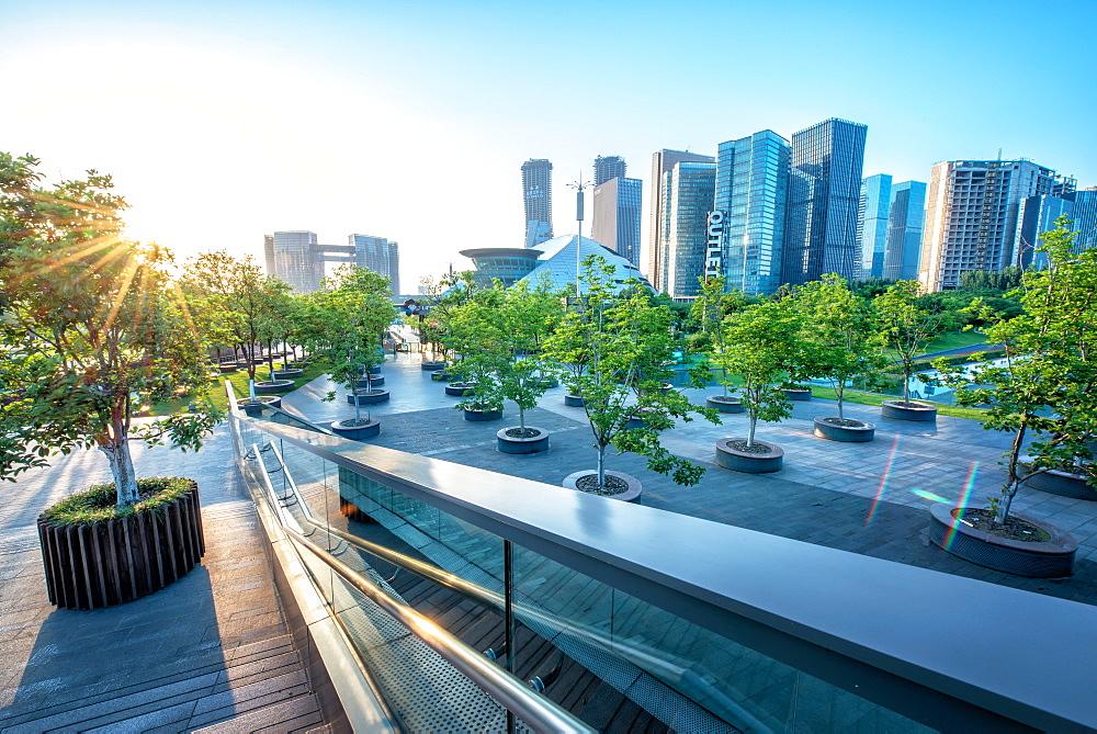 Urban jungle, modern Hangzhou Jianggan cityscape on a beautiful day, Hangzhou, Zhejiang, China, Asia