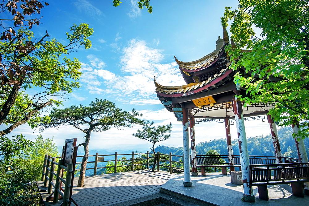 Pavilion on Four Sides Peak at Tian Mu Shan, Zhejiang, China, Asia
