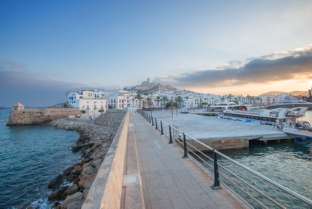 Ibiza Town with its castillo overlooking Dalt Villa, the old town part, and the port, Ibiza, Balearic Islands, Spain, Mediterranean, Europe - 1171-208